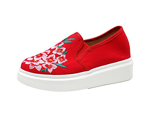 AvaCostume Womens Old Beijing Floral Embroidery Platform Loafer Shoes Red OyJgt