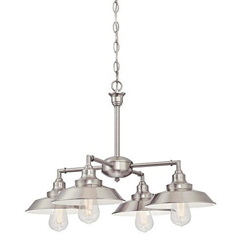 Westinghouse  6354500 Iron Hill Four-Light Indoor Chandelier/Semi-Flush, Brushed Nickel Finish with Metal Shades