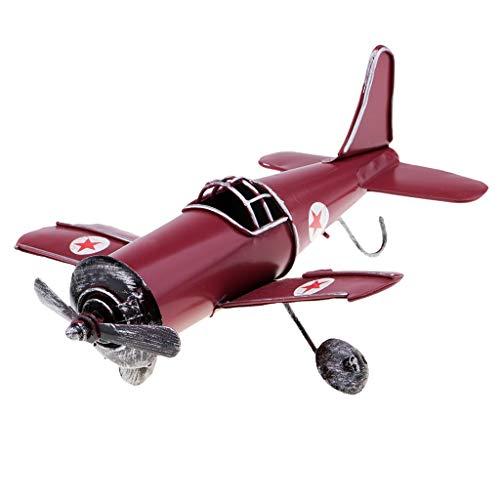 B Baosity ミニ ヴィンテージ 金属 飛行機モデル 航空機モデル 子供 おもちゃ 家 装飾 全2色 - 赤