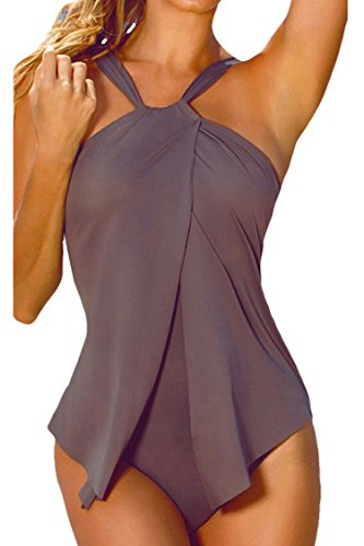 Sovoyant Women's Halter Neck Wrap One Piece Swimsuit Monokini Gray M