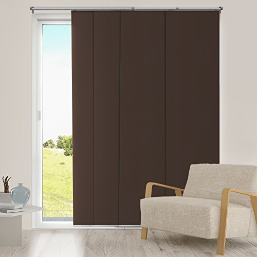 Chicology Adjustable Sliding Panel Fabric - Thermal Room Darkening 80 W X 96 H - Mountain Chocolate : door fabric - pezcame.com