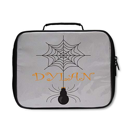 Custom Text Personalized Halloween Spiderweb Name Spider Insulated Lunch Box -