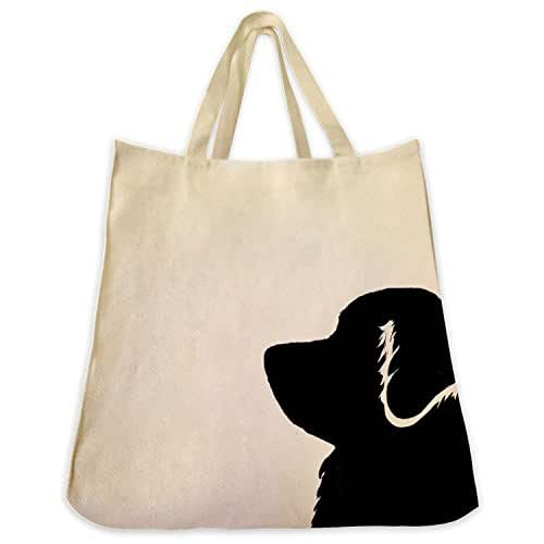Bernese Mountain Dog Portrait Silhouette Design Extra Large Eco Friendly Reusable Cotton Twill Grocery Shopping Tote Bag