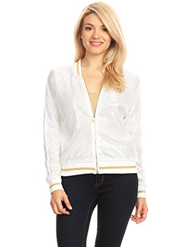 Anna-Kaci Womens Long Sleeve Front Zip Track Stripe Sequin Bomber Jacket, White, Medium (Holiday Womens Jacket)