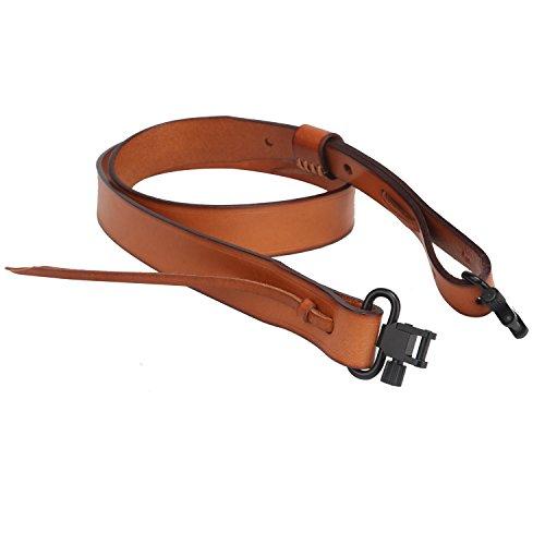 TOURBON Hunting Deluxe Vintage Leather Shotgun Gun Sling with Swivels