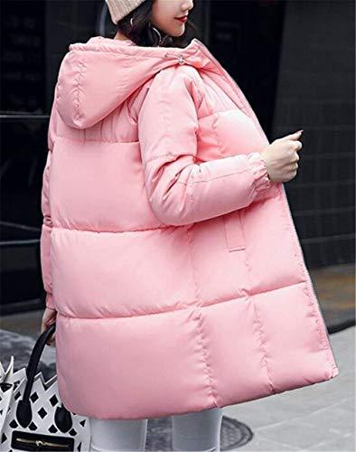 Larga Termica Parkas Bastante Fashion Encapuchado Pluma Elegantes Invierno Informales Largos Mujer Manga Elegante Abrigo Espesar Rosa Acolchado Plumas xFIZ77