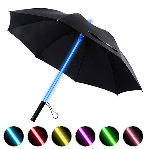 - LED Umbrella - Lightsaber Laser Sword Light up Umbrella with 7 Color Changing On the Shaft/Built in Torch at Bottom by Bestkee (Black)