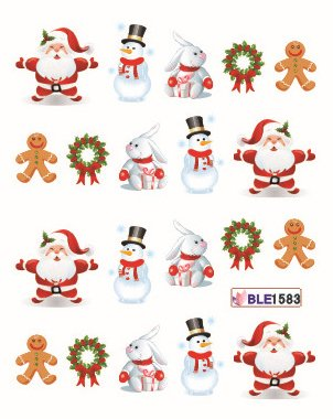 Nail Art Water Transfer Stickers Christmas Decoration - BLE1583 Nail Sticker Tattoo - FashionLife