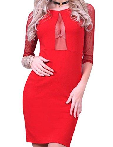 Mezza Rosso Colorata Solido Della Vestito donne Coolred Manica Matita Sottile Rete Della nqHPp8gpw