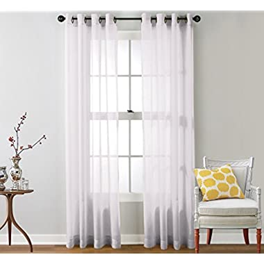 HLC.ME 2 Piece Sheer Window Curtain Grommet Panels, total width 108  x 84  (274 cm x 213 cm) (White)