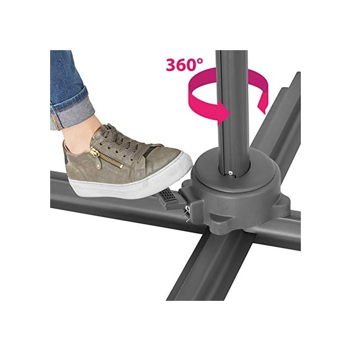 418qBsBtZ5L Acapara todas las miradas con la elegancia y el exquisito diseño del parasol ajustable de tectake // Medidas totales (largo x ancho x alto): aprox. 372 x 300 x 250 cm // Medidas plegado (largo x ancho x alto): aprox. 100 x 100 x 260 cm. Gracias a su mecanismo de manivela, control deslizante y pedal, esta sombrilla colgante se abre y se coloca rápidamente y sin esfuerzo en la posición que usted desee // Diagonal del parasol: aprox. 300 cm // Altura de paso: aprox. 210 cm // Grosor de la tela: 180 g/m². Este parasol con soporte lateral posee un robusto poste y una práctica base que puede soportar hasta cuatro placas de base, proporcionando así la estabilidad requerida // Tubo vertical (largo x ancho): aprox. 7 x 5 cm // Base (largo x ancho): aprox. 100 x 100 cm // Peso: aprox. 15,8 kg.