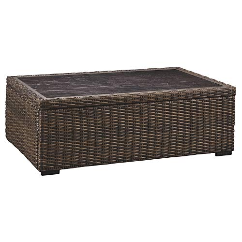 - Ashley Furniture Signature Design - Alta Grande Outdoor Rectangular Cocktail Table - Resin Wicker - Fiberglass-Resin Table Top - Brown