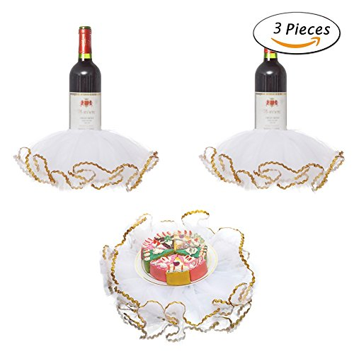 Wine Bottle Shower - Haperlare 3pcs Elegant Red Wine Bottle Cover Tulle Wine Bottle Skirt with Glitter Gold Brims for Wedding Party Baby Shower Christmas Birthday Cake Dessert Table Decorations,White