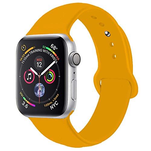 HandyGear Compatible with Apple Watch Band, Premium Sport Durable Soft Silicone Bracelet Strap Replacement Band for iWatch Series 1, Series 2, Series 3, Series 4 (38MM/40MM S/M Spicy Orange)