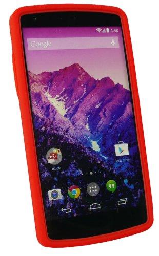 Emartbuy ® Stylus Pack Para LG Google Nexus 5 Mini Rojo Metálico Stylus + Silicio Piel Caja Cubierta Rojo + Protector De Pantalla
