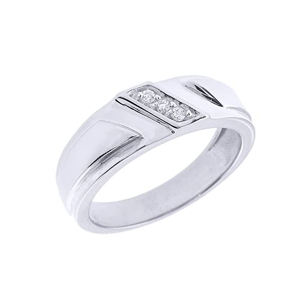 Mens-925-Sterling-Silver-3-Stone-Diagonal-Set-Diamond-Wedding-Band