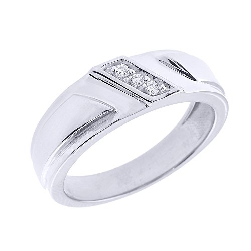 Mens Diamond Claddagh Ring - Men's 925 Sterling Silver 3-Stone Diagonal Set Diamond Wedding Band, Size 7.25