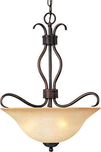 (Maxim 10121WSOI Basix 3-Light Invert Bowl Pendant, Oil Rubbed Bronze Finish, Wilshire Glass, MB Incandescent Incandescent Bulb , 60W Max., Dry Safety Rating, Standard Dimmable, Metal Shade Material, Rated Lumens)