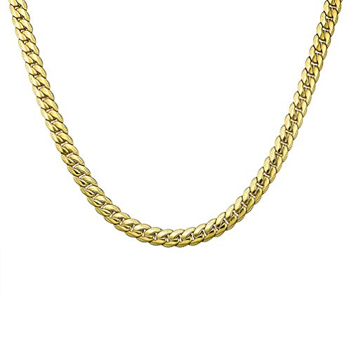 9mm Snake Chain - THREE KEYS JEWELRY 9MM Wide 18K Gold Plated Mens Stainless Steel Necklace Snake Chain Necklace for Men Women 18 Inches