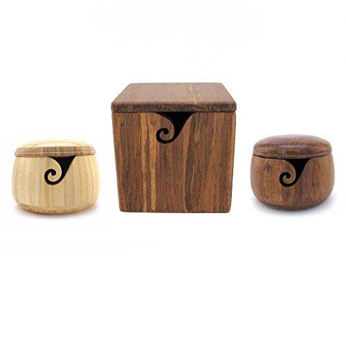 BambooMN Brand - Bamboo Yarn Bowl Combo - 2 Bowls + 1 Box - Color Variety by BambooMN