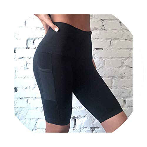(Knee Length Sports Legging for Women Riding High Waist Tummy Control Fitness Squat Pants with Pocket,Black,M)