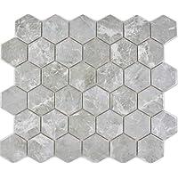 Mosaico de cerámica hexagonal, mármol gris brillante,
