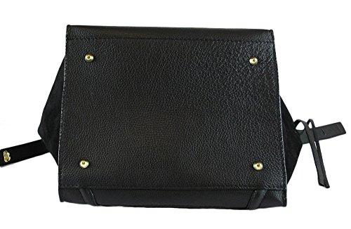 véritable cuir Noir similaire celine Fabriqué et cuir daim Sac en Italie en véritable UPwvHAAq