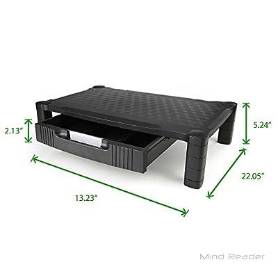 Mind Reader Extra Wide Plastic Monitor Stand Riser, Black