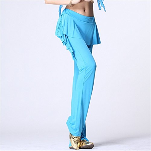 Womens Ladies Culottes Dance Pantalón Fitness Workout Pantalón Elastic Lycra Pantalón Light Blue