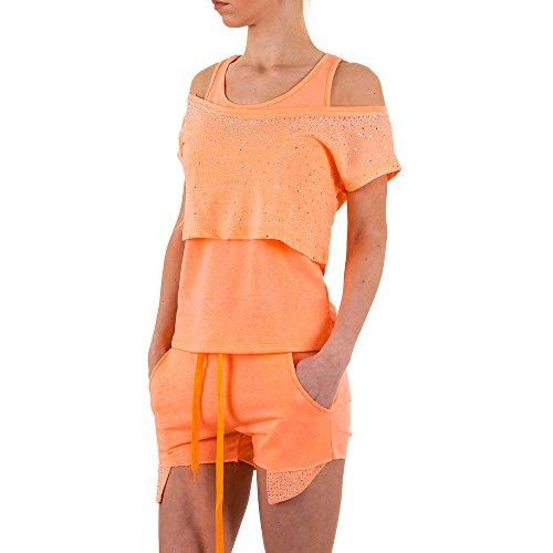 Freizeit Dreiteiler Strass Anzug Für Damen , Apricot In Gr. M bei Ital-Design