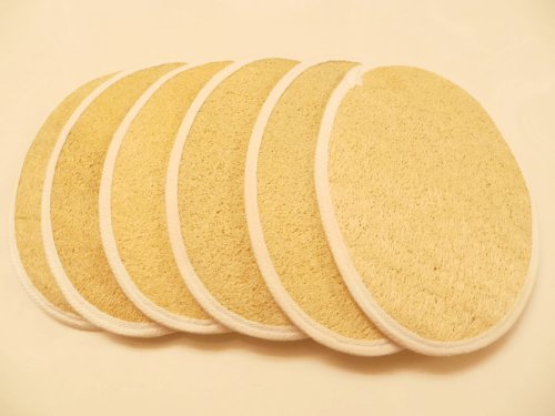 Natural Loofah/Terry Bath Body Exfoliating Scrub Pad (5'' x 7'') (12-Pack) by Touch Me