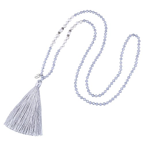(KELITCH Long Tassel Necklace Handmade Shell Pearl Crystal Beads Necklace for Women, Grey)
