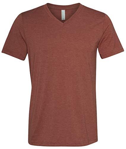 Yoga Clothing For You Mens Tri Blend V-Neck Tee Shirt (Mens Medium, Clay)