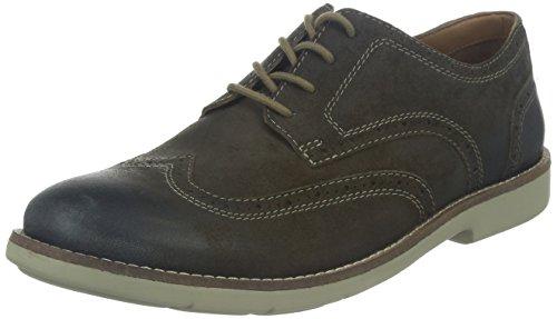 Clarks Raspin Brogue - Zapato brogue de cuero hombre Gris (Taupe Suede)