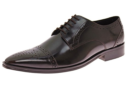 Antique Brown Leather Footwear - LN LUCIANO NATAZZI Natazzi Handmade Mens Leather Shoe Dolce Antique Finish Captoe Lace-Up (44.5 M EU/11.5 D(M) US, Ox-Brown)