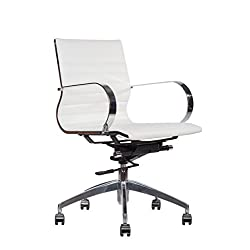 Premium PU Leather Soft Pad Executive Management Office Replica Chair Swivel and Polished Aluminium Frame - Ribbed Mid Back Version (White)