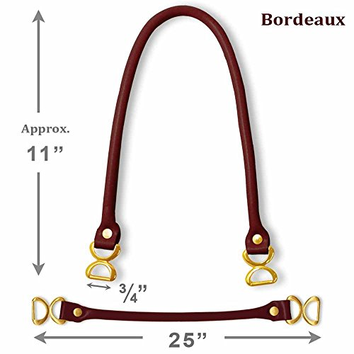 "25"" Bordeaux faux leather handbag handles with metal buckle by 1 pair, HD-108N"