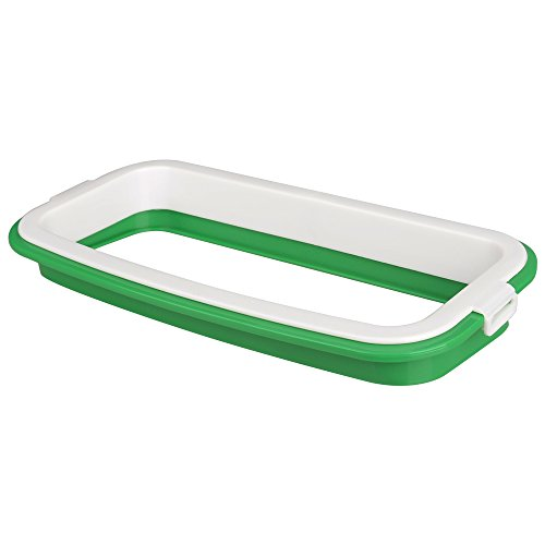 Hanging Cupboard Cabinet Trash Bag Holder Ninonly Tailgate Stand Portable Storage Garbage Trash Rack for Kitchen Green and White