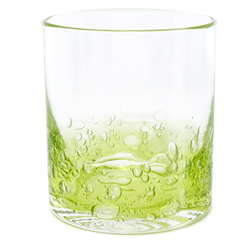 Double Old Fashioned Rocks Glasses Set: Hand-Blown 12-oz Cocktail Glasses - Great Rocks Glass for Bourbon, Whiskey or Any Mixed Drink - Elegant Gift Set - Barware Set of 4 (Green Cocktail Glasses)