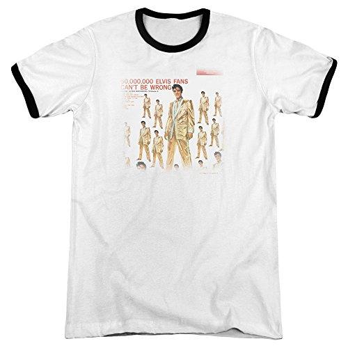 Elvis Presley 50 Million Fans Mens Adult Heather Ringer Shirt White/Black Md