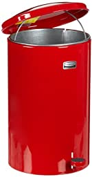 Rubbermaid Commercial FGST35EGLRD The Defenders Steel Step Trash Can with Galvanized Liner, 3.5-Gallon, Red