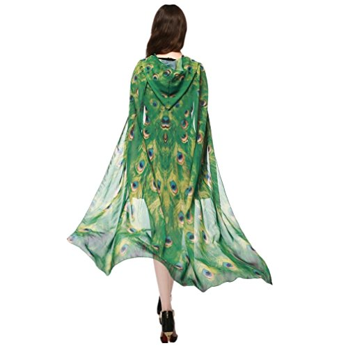 VESNIBA Women Novelty Print Chiffon Butterfly Wing Cape Scarf Peacock Poncho Shawl Wrap Costume Accessory (140x100CM, F-Yellow)