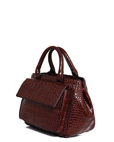 Jezzelle Croc Skin Effect Round Handbag, Brown, One Size - more-bags