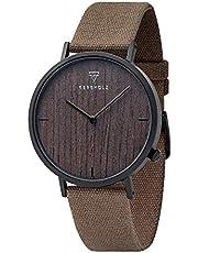 KERBHOLZ Holzuhr – Elements Collection Henri analoge Unisex Quarz Uhr, Naturholz Ziffernblatt, Canvas Armband, Durchmesser 38mm