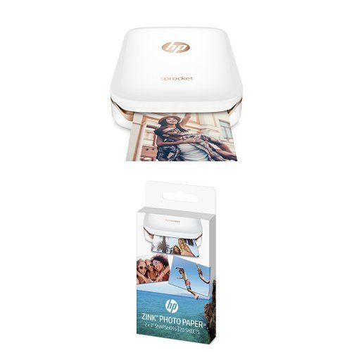 HP Sprocket Portable Photo Printer (white) with additional...