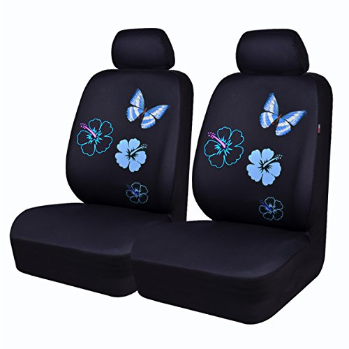 Cover Seat Front Blue (CAR PASS NEW ARRIVAL Flower And Butterfly Universal Car Seat Covers,Perfect Fit Suvs,sedans,Vehicles,Airbag Compatible (6PCS, Black And Mint Blue))