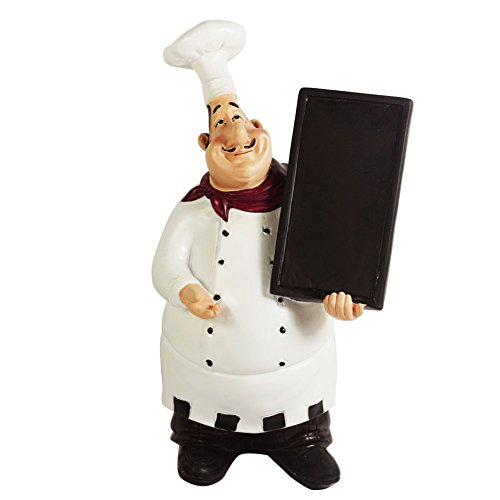 Ratatouille Kitchen - KiaoTime 98915HB Italian Chef Figurines Kitchen Decor with Chef Chalkboard Counter Top Chef Figurine Collectible Kitchen Chef Decor Statue