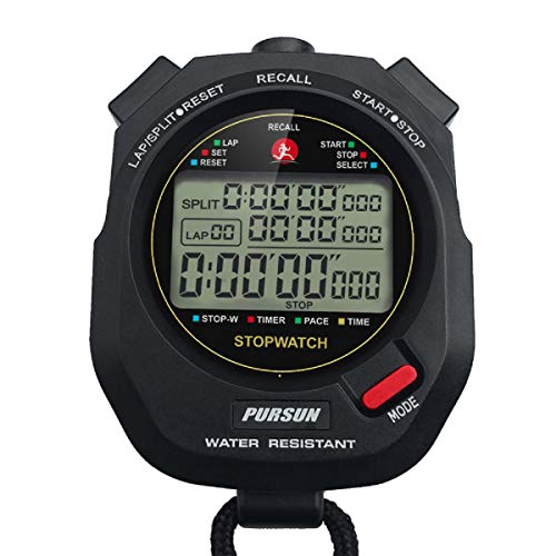 Professional Stopwatch - Professional Timer Stopwatch, Digital Sports Stopwatch with Countdown Timer, 100 Lap Memory, 0.001 Second Timing,Water Resistant,Multi Functional Stopwatch for Swimming Running Training etc