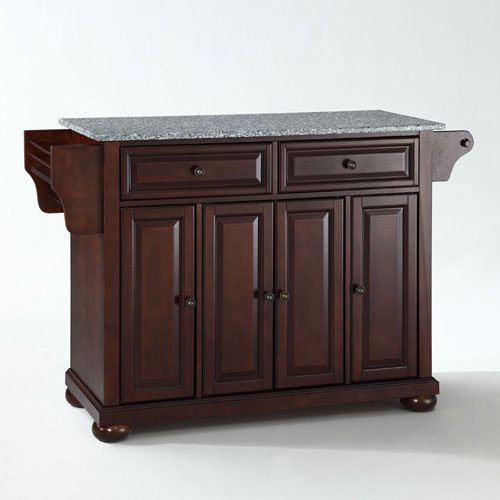 251 First Wellington Solid Granite Top Kitchen Island in Vintage Mahogany Finish