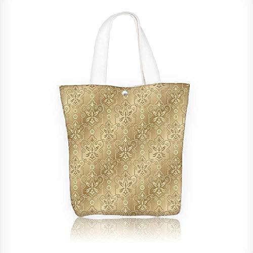 Canvas Shoulder Hand Bag Damask Patterns Weaving Byzantine Islamic AnLace Floral Motifs Nostalgic Tote Bag for Women Large Work tote Bag Shoulder Travel Totes Beach Bag W16.5xH14xD7 INCH by Jiahonghome